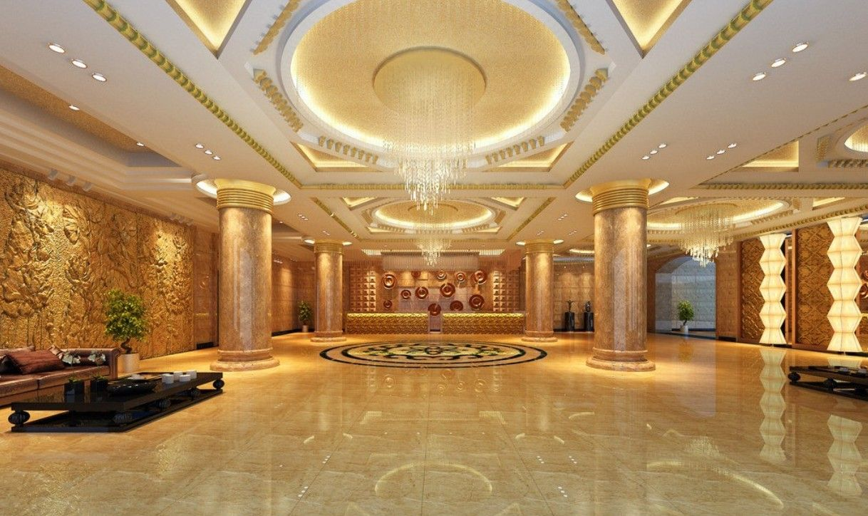 luxury hotel lobby 3d rendering luxury hotel lobby china