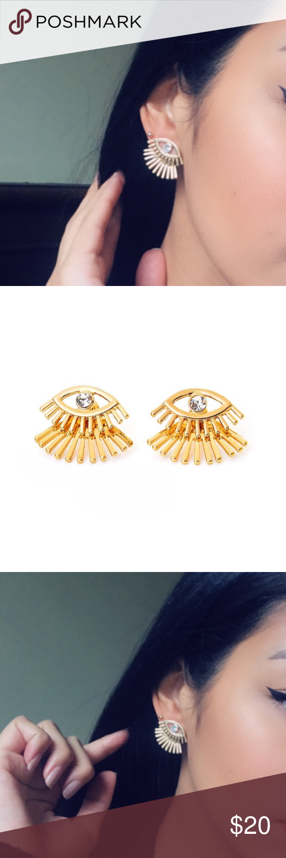 97eb1571b Eye & Eyelash double back stud earrings Brand new Stud earrings Double back stud  earrings Color is gold with clear crystal gemstone Fashion earrings ...