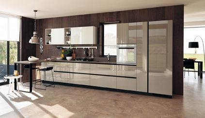Essential shapes and geometric volumes for a kitchen space that becomes the heart of a modern - Modern look kitchen cabinets pictures for maximum effect ...