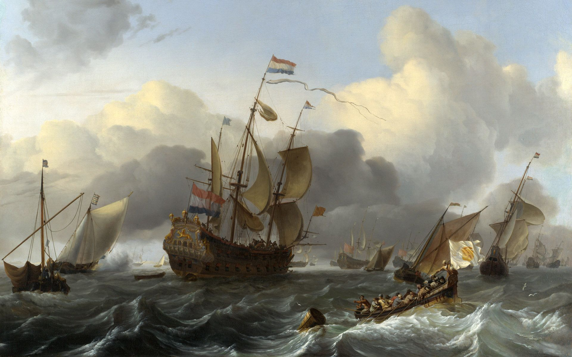 DUTCH SHIPS AT TABLE BAY AFRICA SEASCAPE OCEAN PAINTING ART REAL CANVAS PRINT