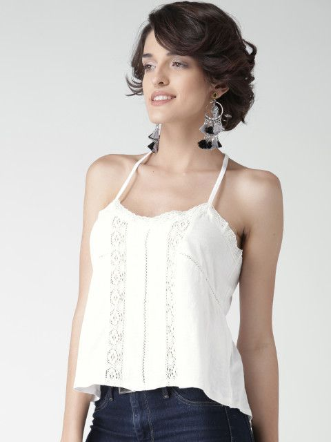 Buy FOREVER 21 Women White Lace Detail Top - Tops for Women | Myntra