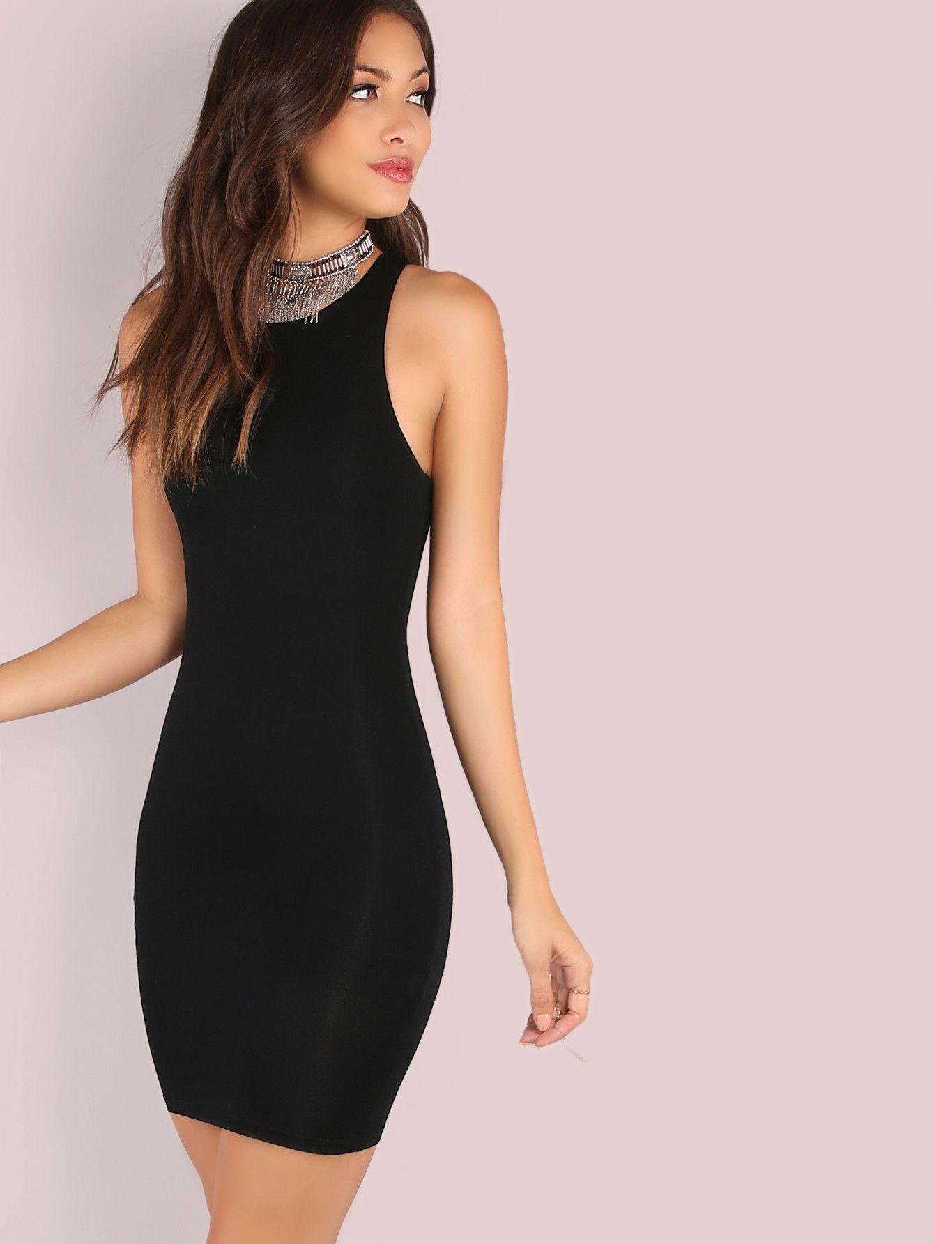 fdce616f08 Black Racer Bodycon Dress