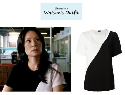 """On the blog: Joan Watson's (Lucy Liu) black and white colorblock blouse 