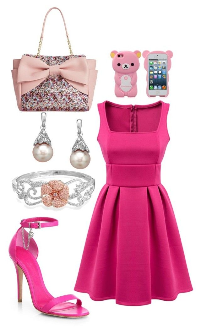 Pink by maggiefrank on Polyvore featuring polyvore, fashion, style, Alexander McQueen, Betsey Johnson, Bling Jewelry and clothing