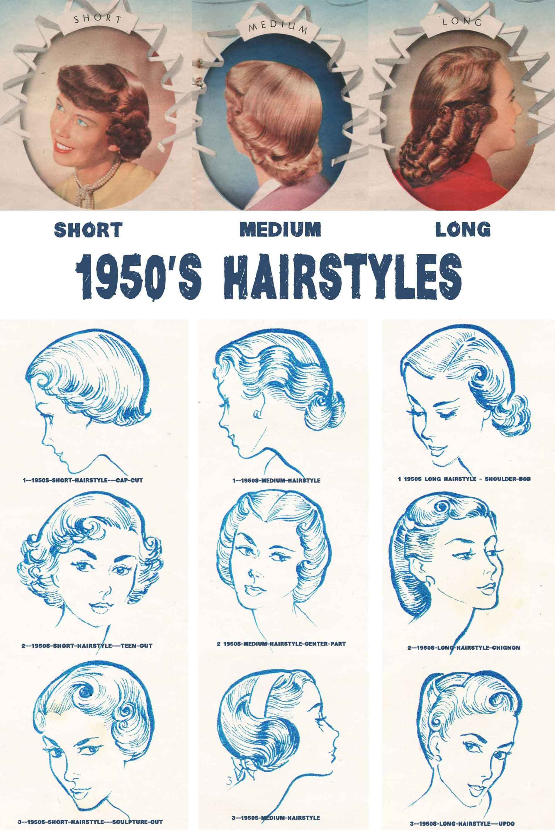 1950s Hairstyles Chart For Your Hair Length Glamour Daze 1950s Hairstyles Retro Hairstyles Hair Lengths