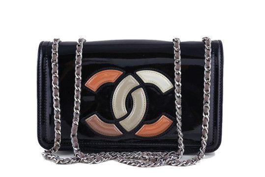 Chanel Black Patent Logo Lipstick Flap Bag