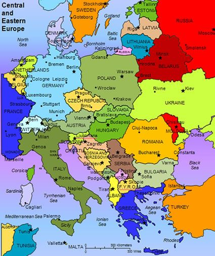 Map of Central and Eastern Europe | Travel Eastern Europe in 2019