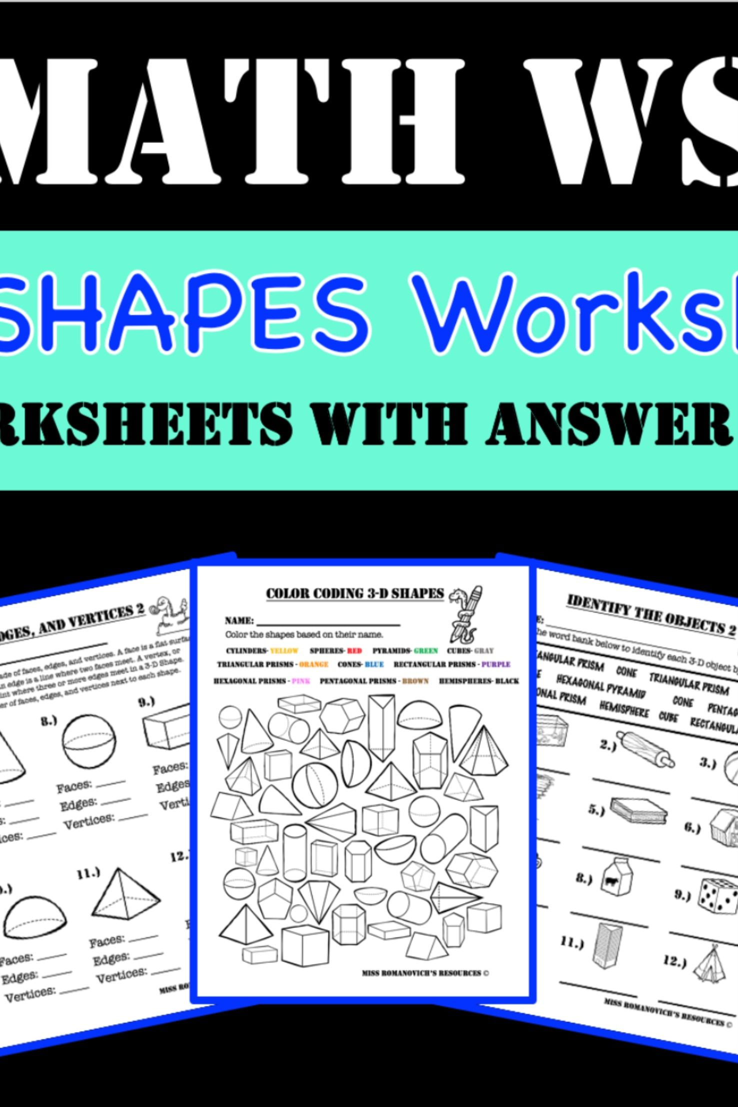 3 D Shapes Worksheets Great For Distance Learning In