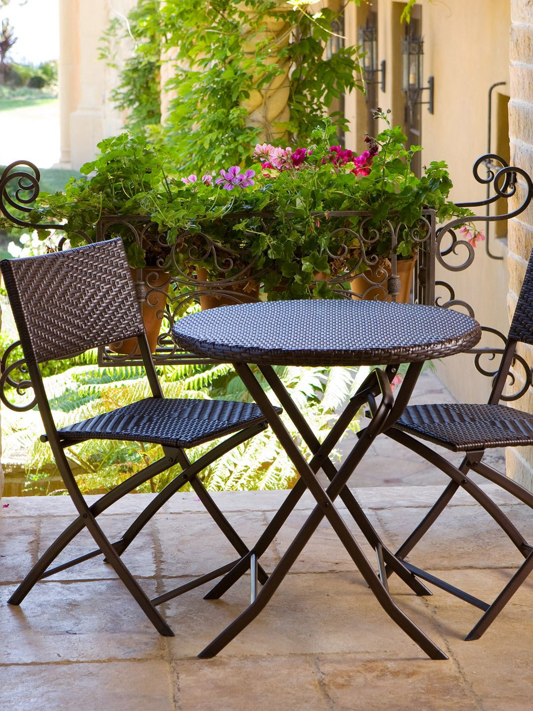 Cute Bistro Set Balcony Furniture Patio Wicker Resin