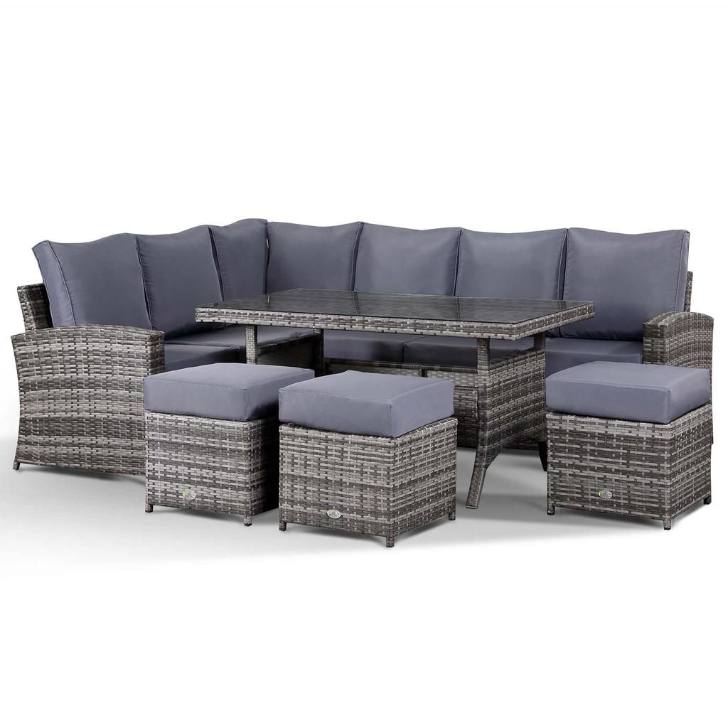 Harmony Corner Sofa With Dining Table And 3 Stools In Small Grey Rattan Rattan Corner Sofa Sofa Dining Table Corner Sofa
