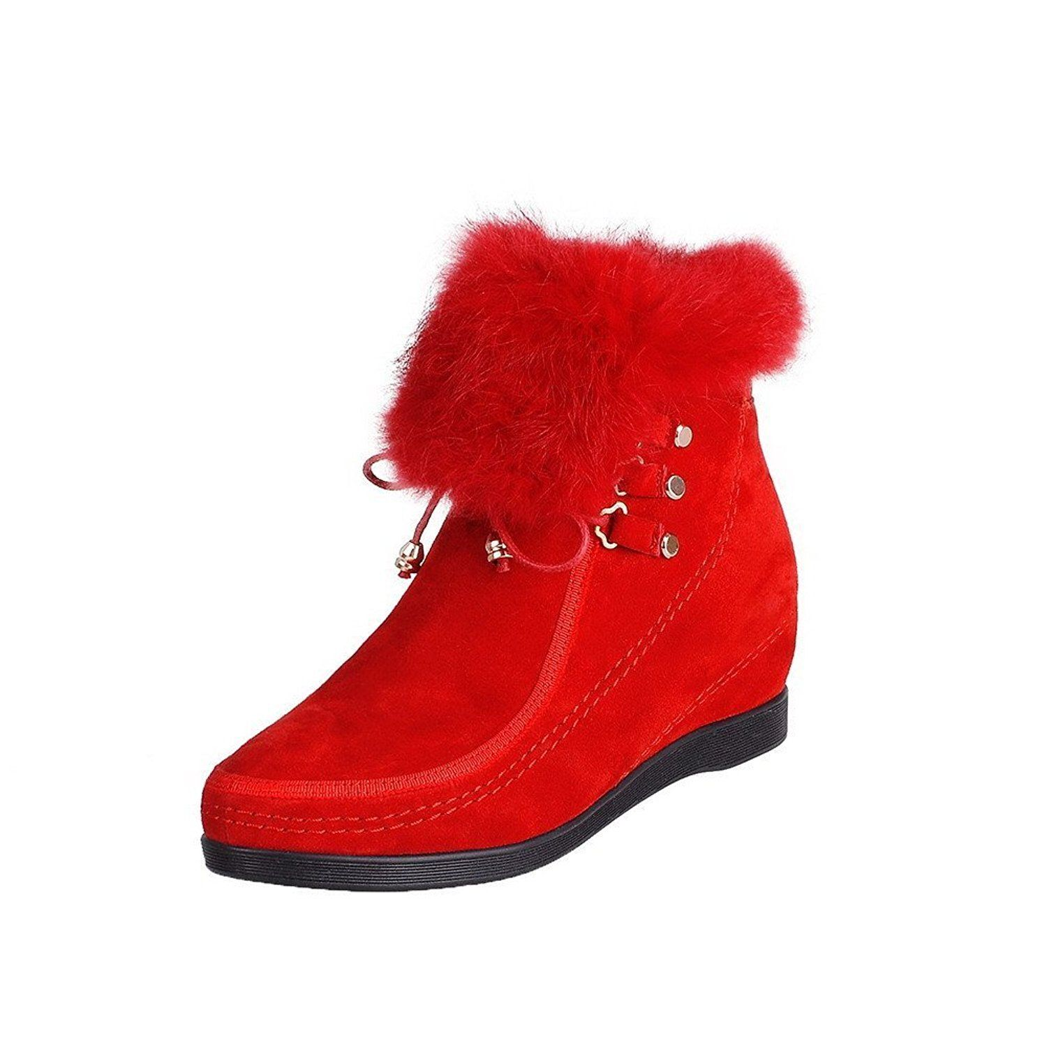 VogueZone009 Women's Frosted Round-Toe Closed-Toe Kitten-Heels Solid Boots >>> More info could be found at the image url.