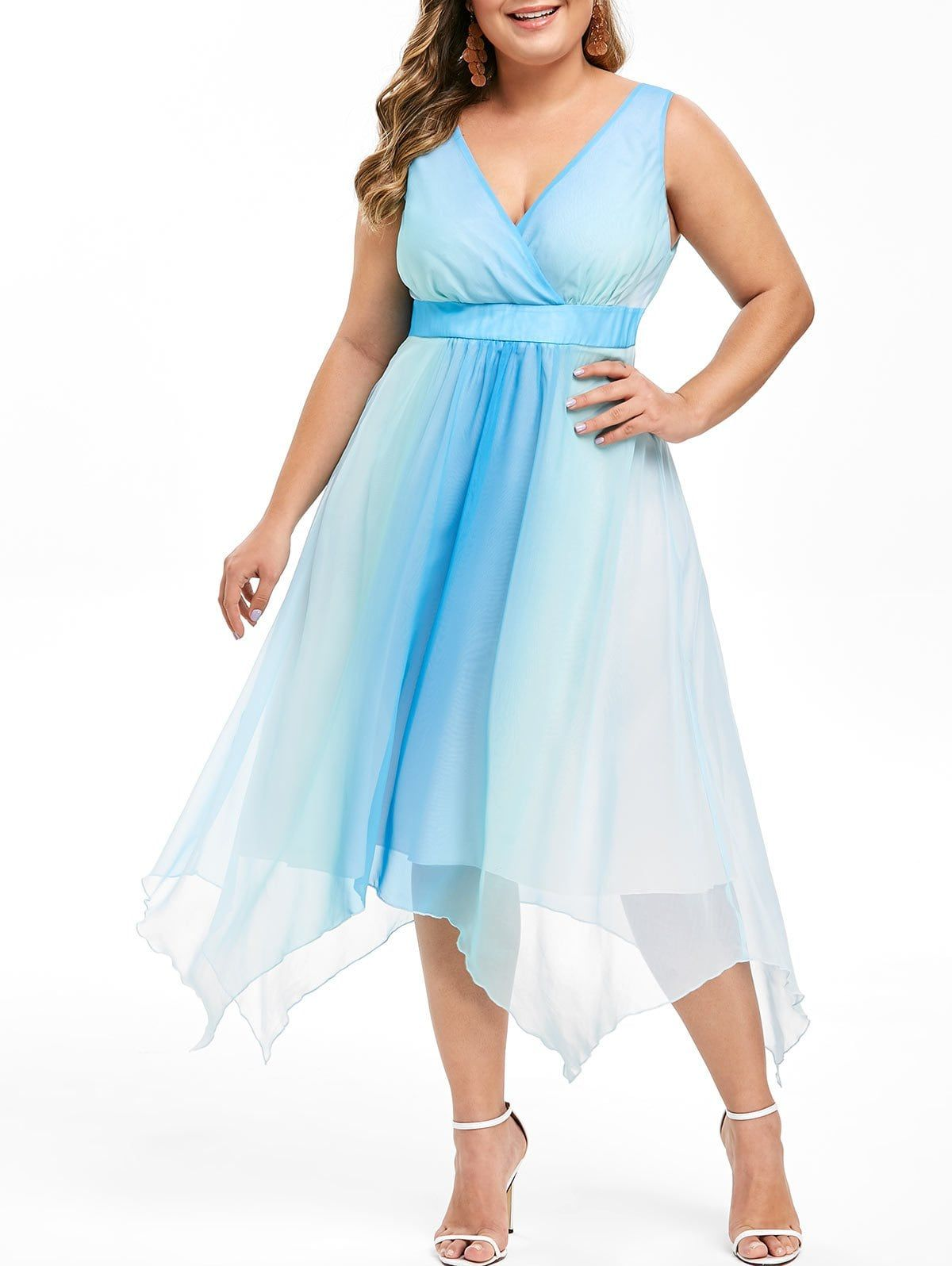 Plus Size Handkerchief Ombre Midi Dress in 2019 | Fashion | Dresses ...