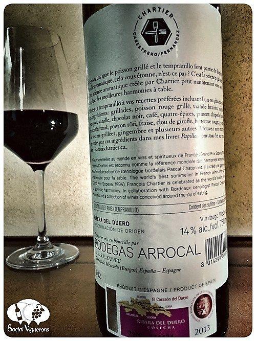 2013 Chartier Ribera del Duero Red wine back label bottle glass social vignerons small