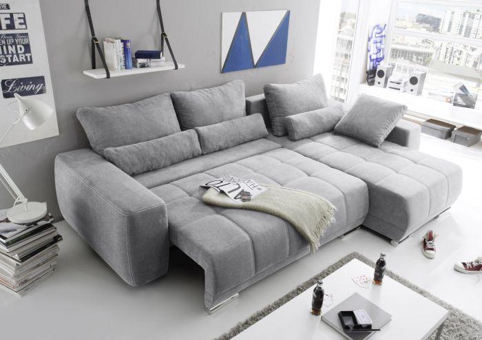 Eckcouch Lopez Couch Schlafsofa Funktionssofa Ausziehbar Hellgrau 305 Cm Sofa Bett Sofa Wohnlandschaft Kleine Couch