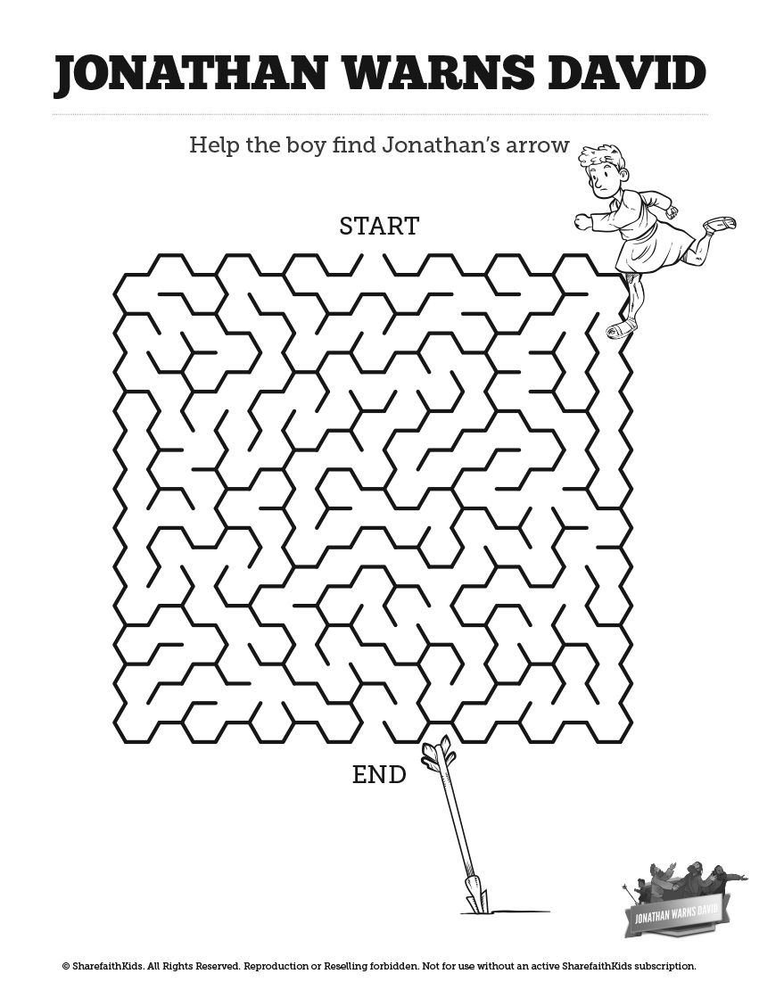 1 Samuel 20 David And Jonathan Bible Mazes 1 Samuel 20 David And