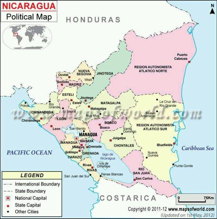 Mi Tierra NICARAGUA Tierra De Lagos Y Volcanes Pinterest - Nicaragua political map cities