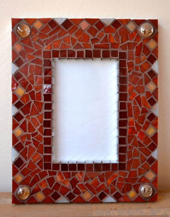 Picture frame red glass mosaic