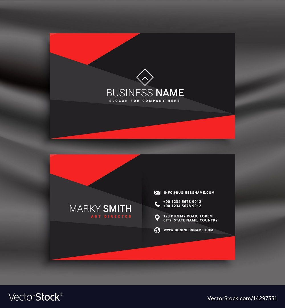 Black Business Card Template New Black And Red Business Card Template With Vector Imag Red Business Cards Visiting Card Templates Free Printable Business Cards