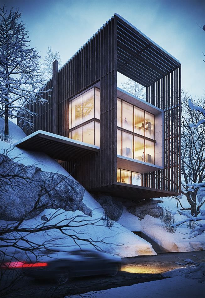 3d Exterior House Designs: Exterior Scene Night: 3dsmax, Vray And Photoshop