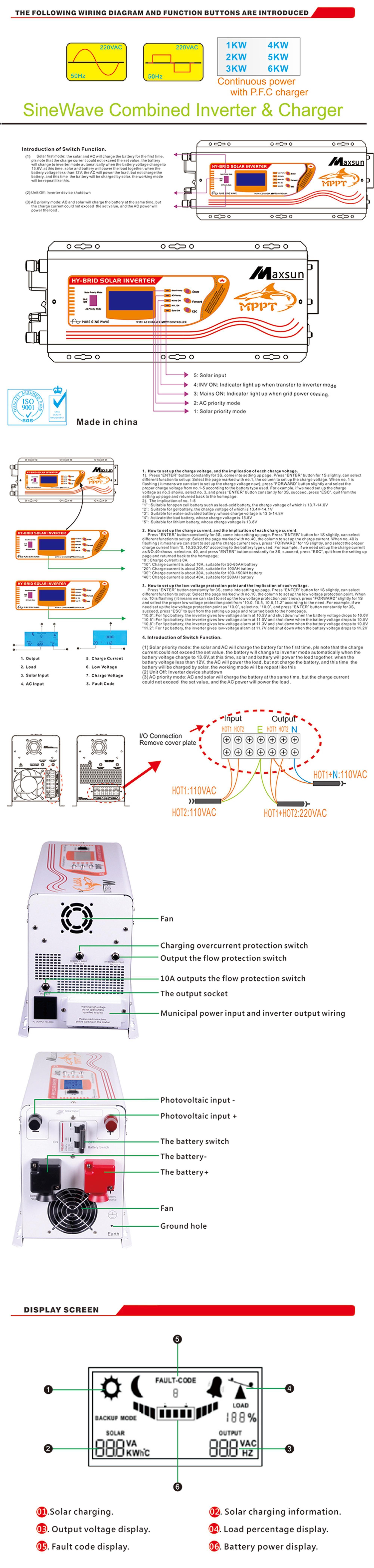 medium resolution of hybrid solar inverter 5000w 24v 48v 60a mppt controller inverter