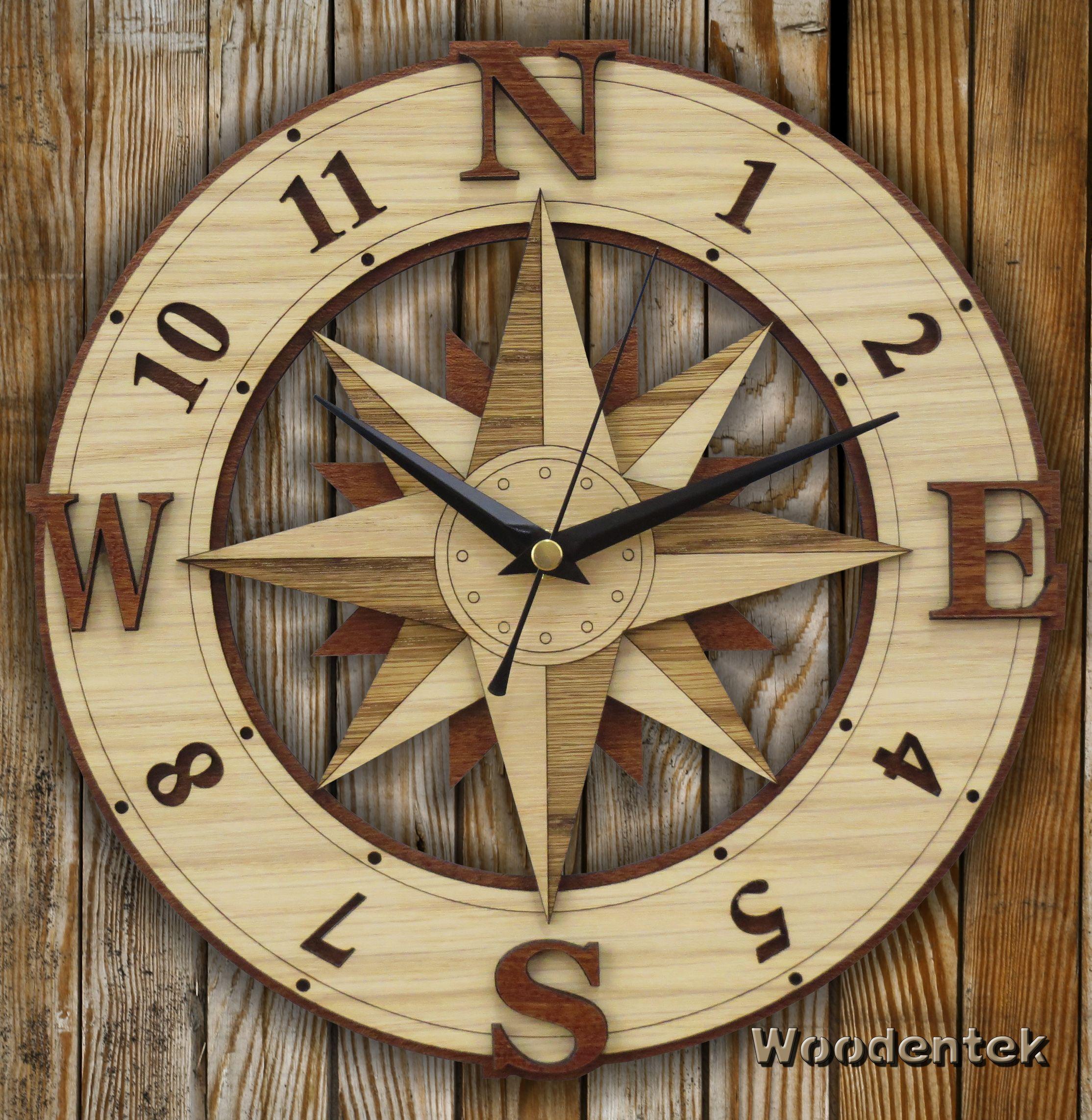 Handmade Comp Clock In Wood Wind Rose Wallclock