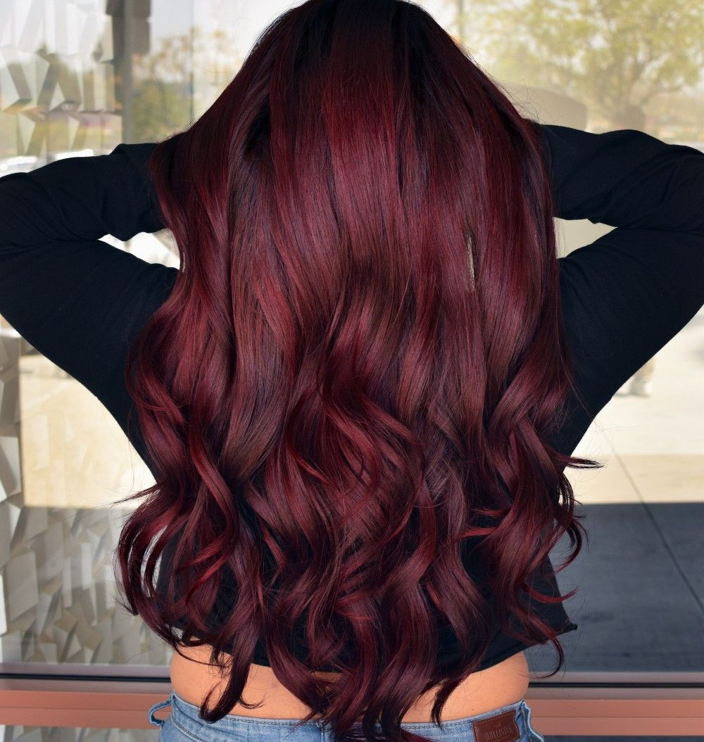 Deep Red Ruby Wine Red Hair Shades Of Red Hair Hair Color Wine Red Hair