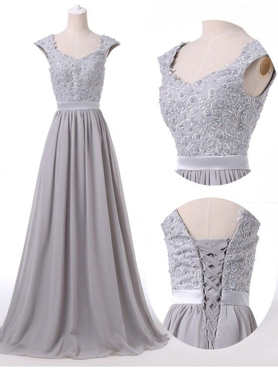 Grey Floor Length Chiffon A-Line Prom Gown Featuring | Prom dress ...
