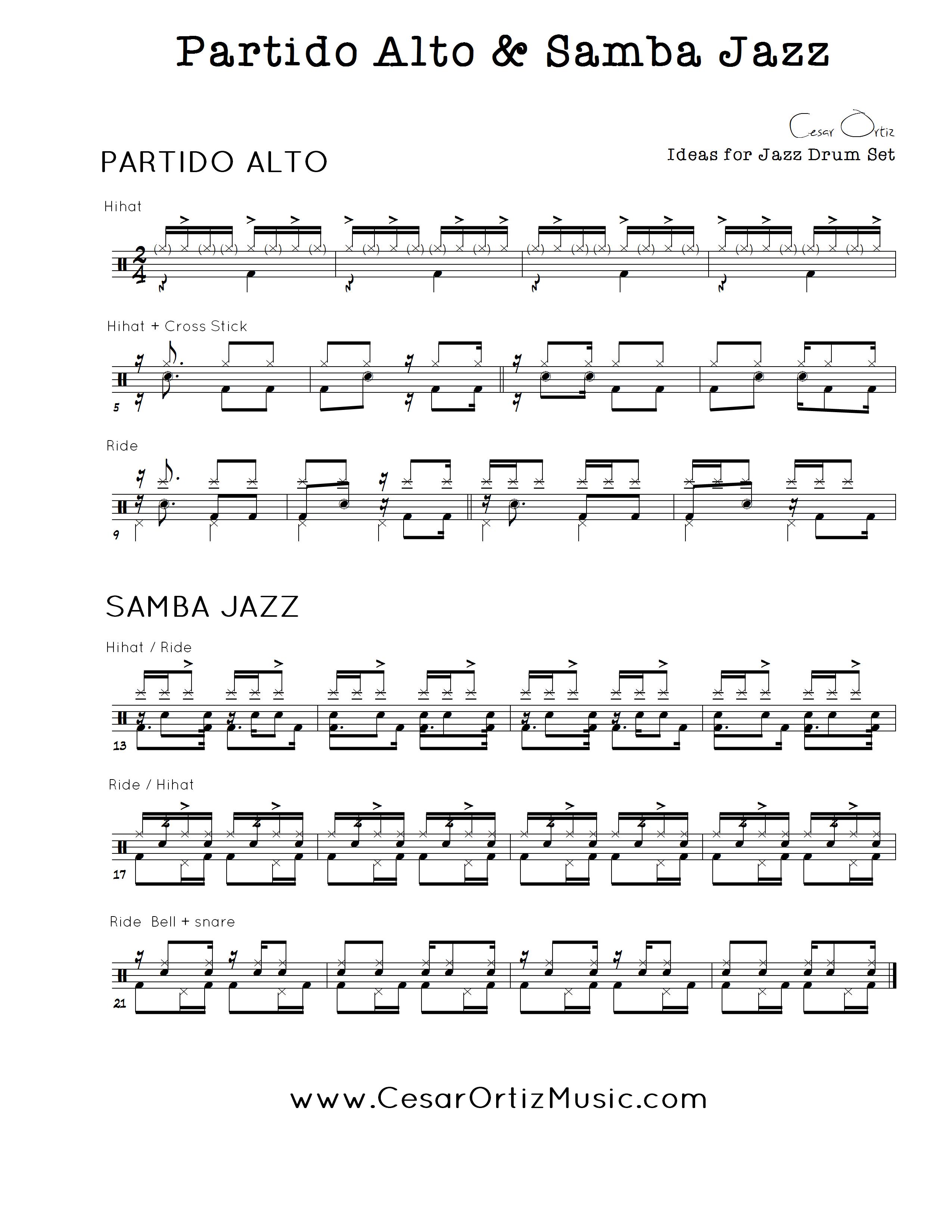 Partido Alto Y Samba Jazz Para Bateria