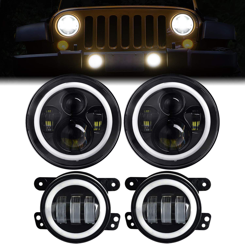 Led Headlights For Jeep Wrangler Aaiwa 7 Inch Round Headlight