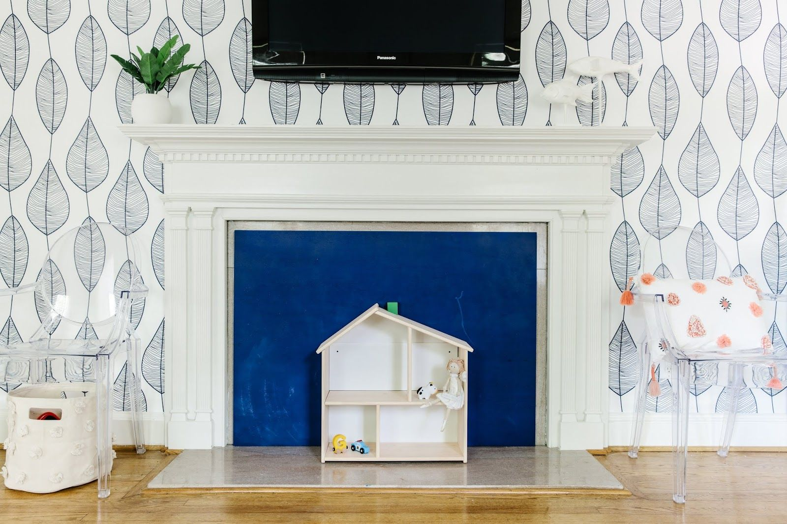 Diy chalkboard fireplace cover playroom design blue