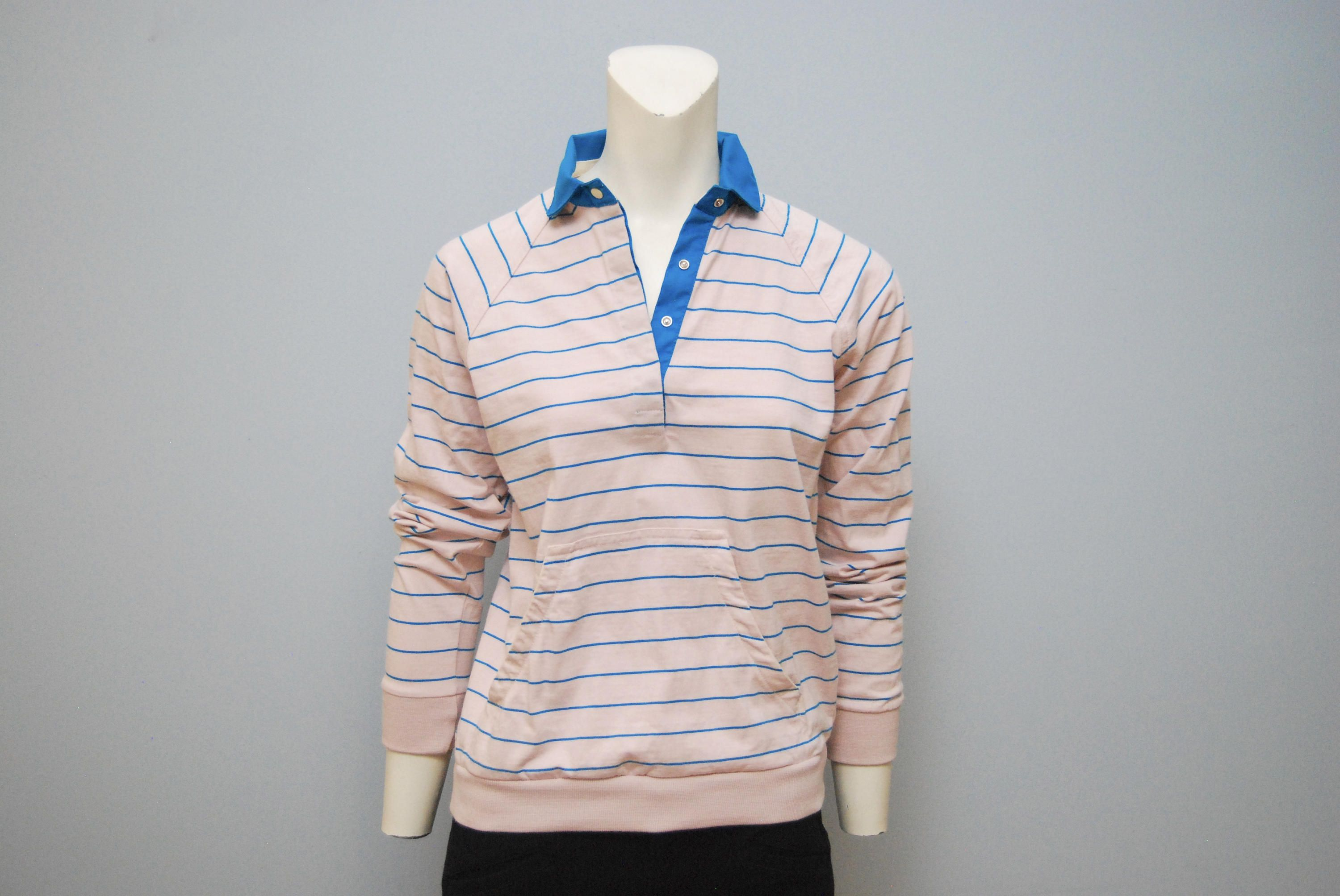 Vintage 1980 S Light Pink And Blue Striped Long Sleeve Polo Rugby Shirt With Front Pocket Women Size Medium By Merona Sport