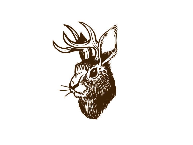 Jackalope rabbit tattoos nature sketch tattoos
