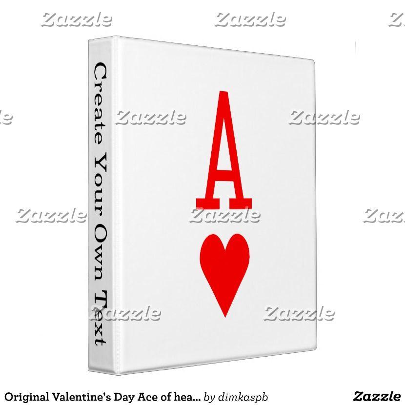 Original Valentines Day Ace Of Hearts Symbol 3 Ring Binder
