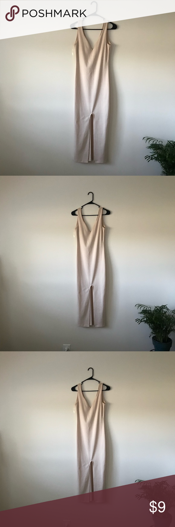 6c96744f41 Dress Brand new, never worn. Cream colored, midi pencil dress with split in  the middle from Go Jane. NEVER WORN. Cotton Material.