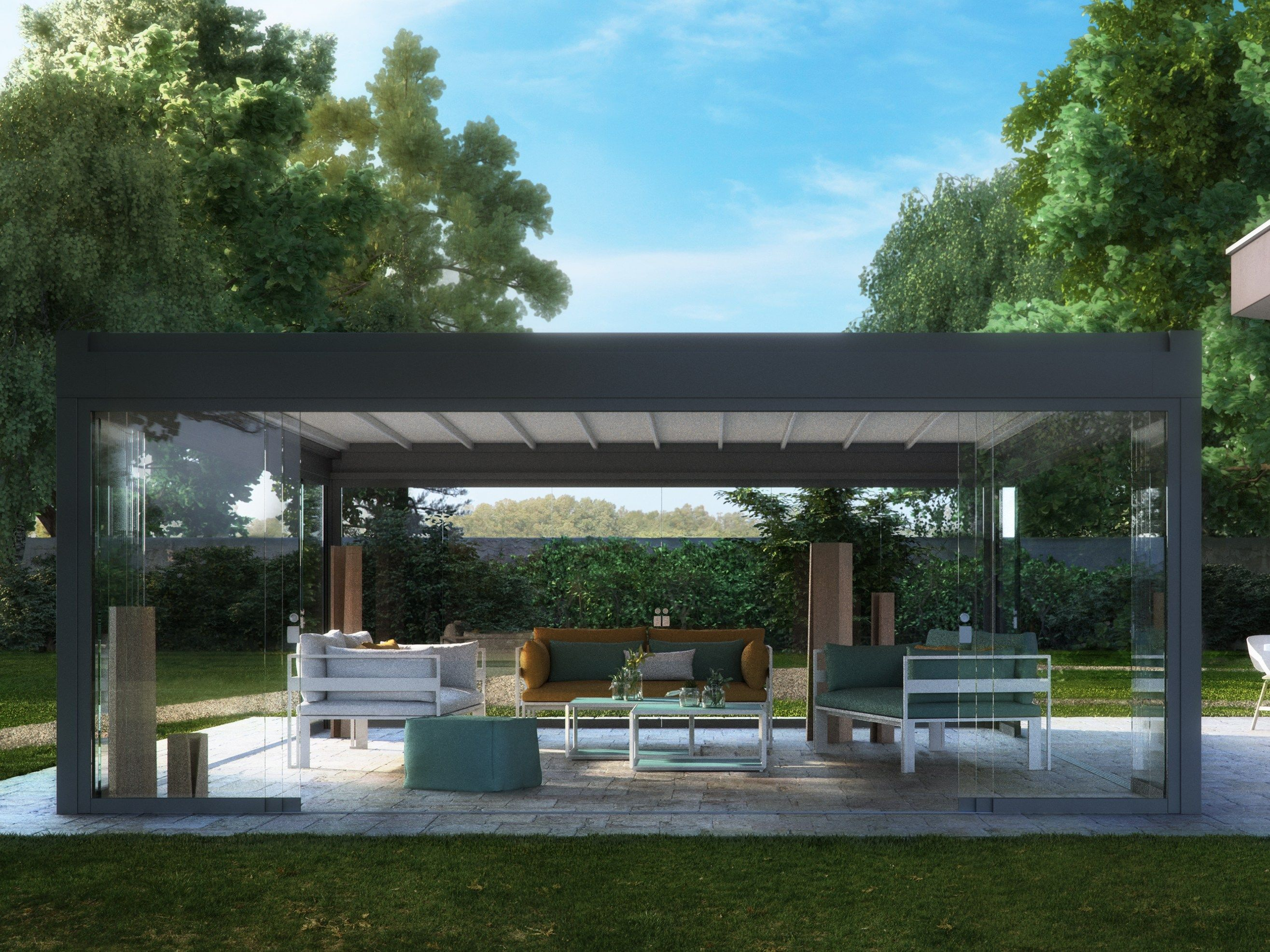 Freestanding Motorized Pergola With Sliding Cover Rialto Pratic