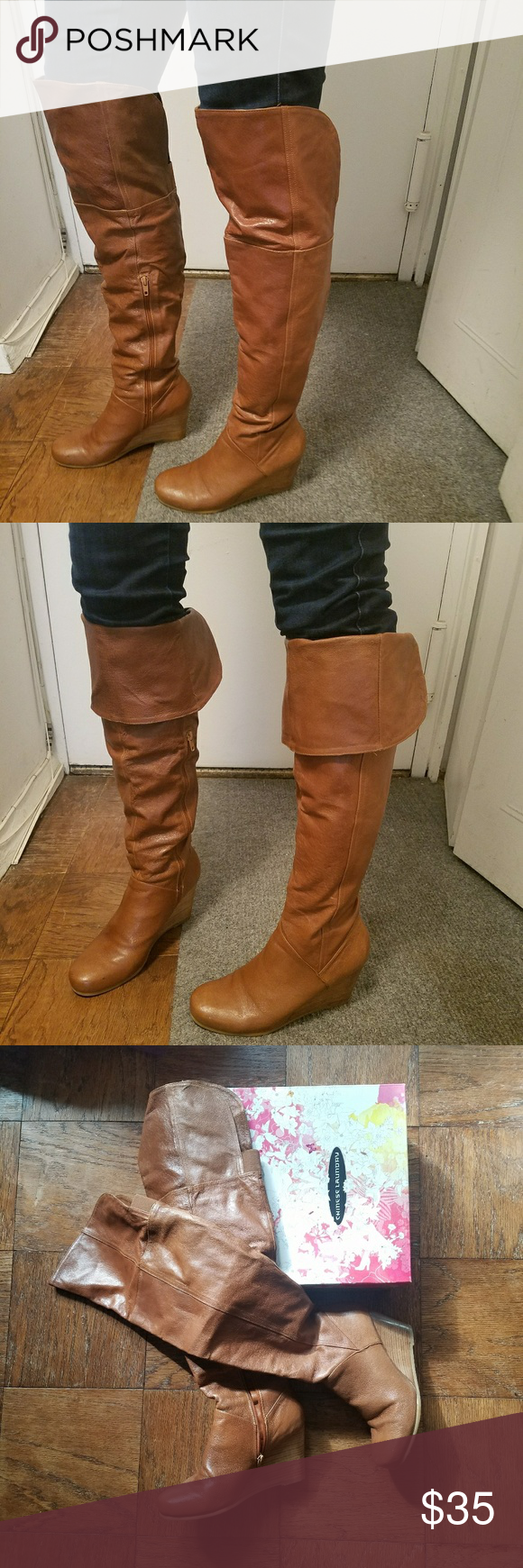 97ad4664b57 Over the knee leather boots Chinese Laundry Over the knee   knee high  leather boots Tan   light brown color 3.5