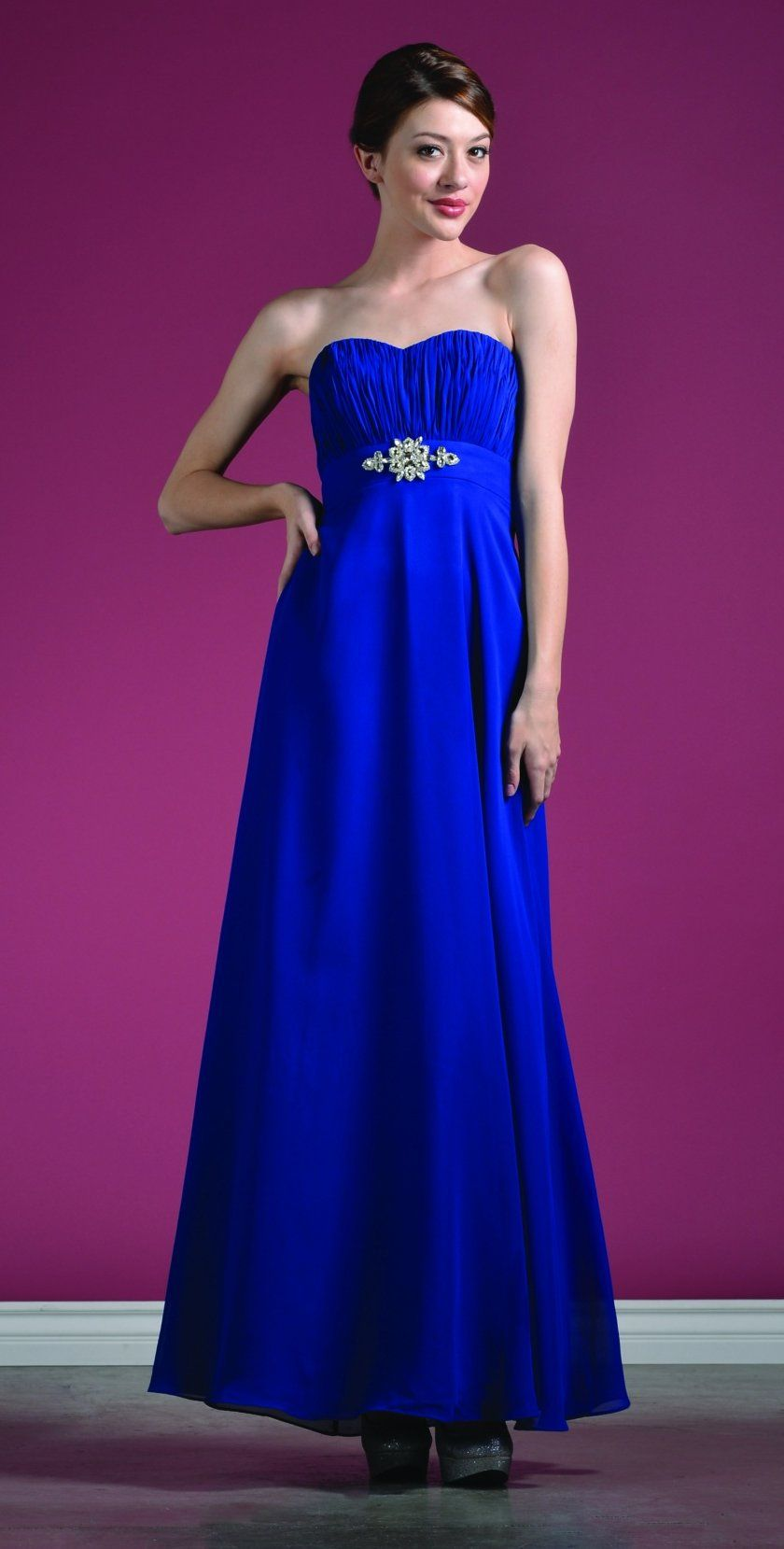 Long Inexpensive Royal Blue Bridesmaid Dress Chiffon Strapless ...