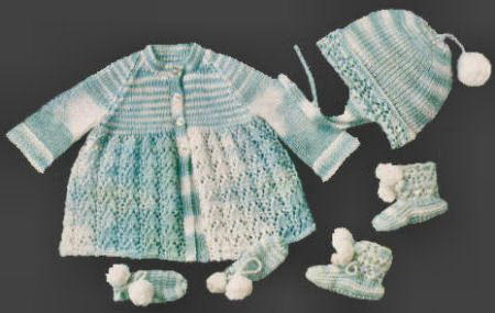Baby Outfit Vintage Knitting Pattern for download - Two Sizes 3 - 12 ...