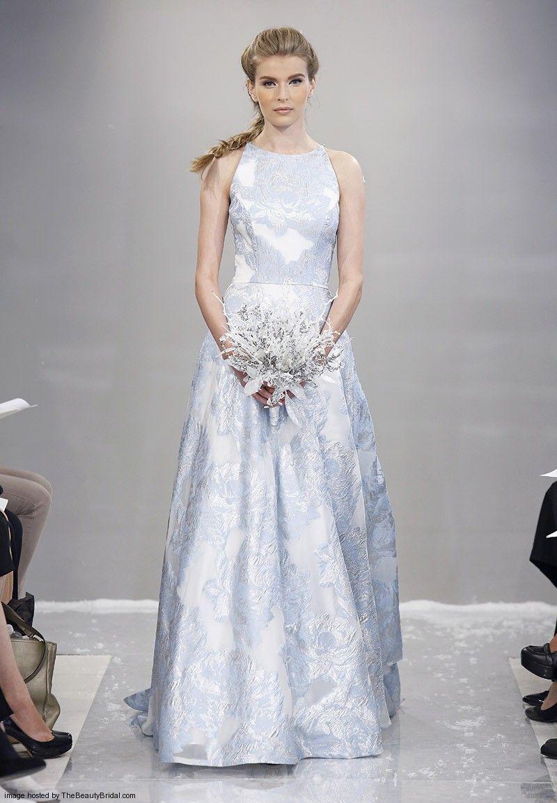 Theia fall sleeveless glacier blue fil couple aline wedding