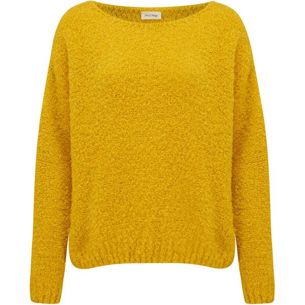 American Vintage Wimostate Jumper - Lemon ($155) ❤ liked on Polyvore featuring tops, sweaters, lemon, boat neck sweater, long sleeve knit sweater, cocoon sweater, loose knit sweater and yellow knit sweater