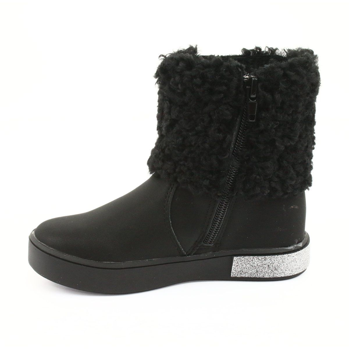 American Club Kozaczki Z Futerkiem Na Suwak Gc35 Czarne Szare Boots Fur Boots Childrens Boots