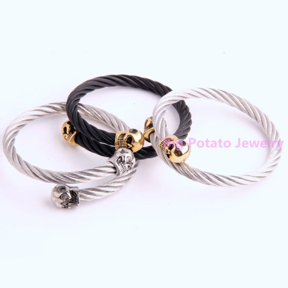 Popular cool l stainless steel silver gold black wire skull