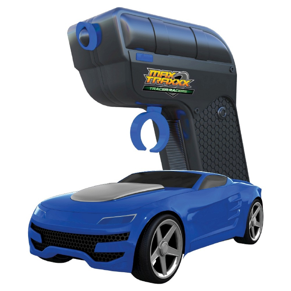 Max Traxxx Tracer Racers RC Car and Controller Blue Slot