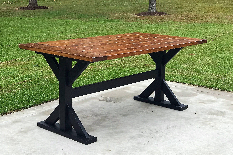Farm table truss style legs etsy diy table legs pool