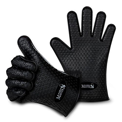 Cooking Gloves Heat Resistant Silicone Oven Mitts 5 Finge