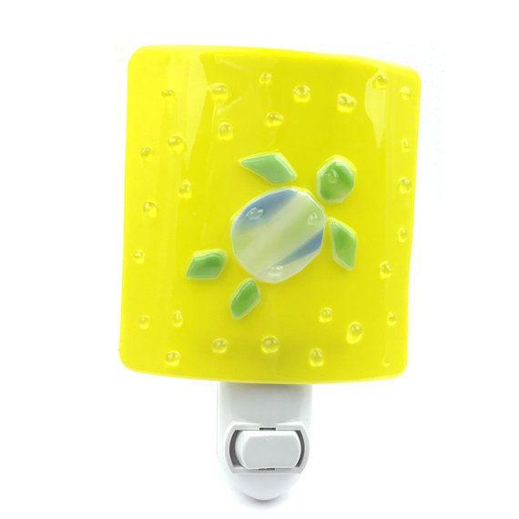 Night Light, Yellow Green & Blue Sea Turtle, Art Glass, Wall Plug in ...