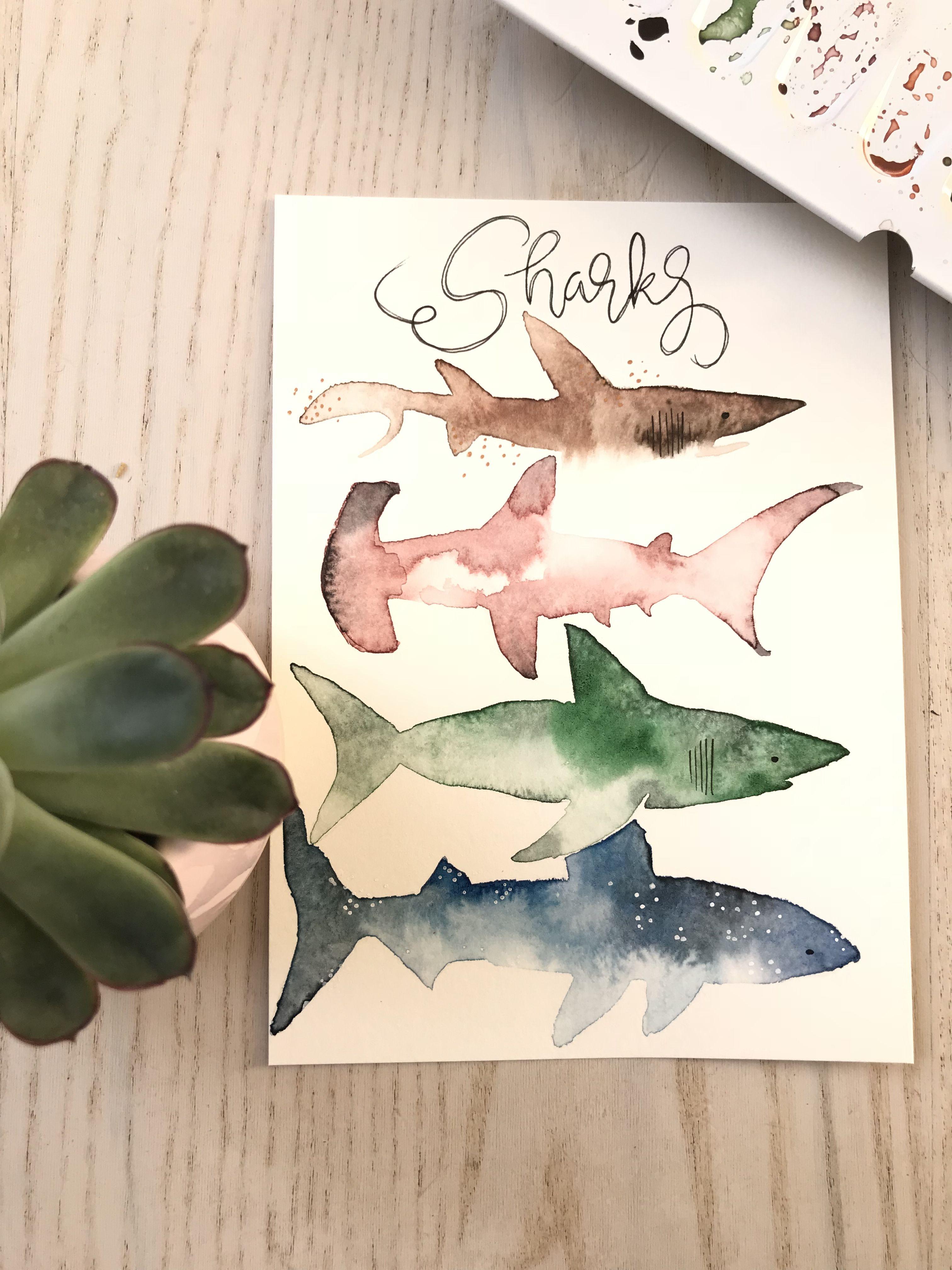Shark Hai Aquarell Wasserfarben Watercolor Animals Fische Diy Haie