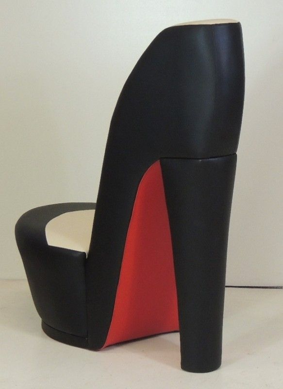high heel shoe chair Black & cream shoe / high heel / stiletto chair with red sole in  high heel shoe chair
