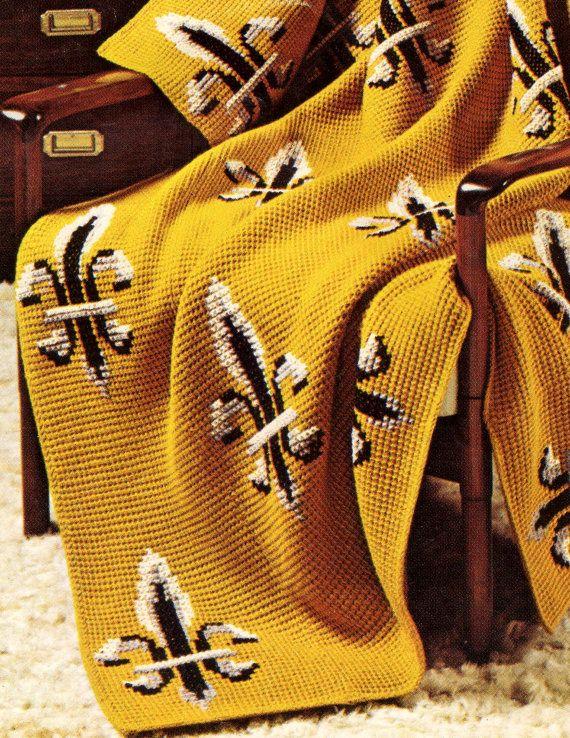 (who wants to crochet this for me???)Pattern for Saints- Fleur de Lis Afghan, crochet