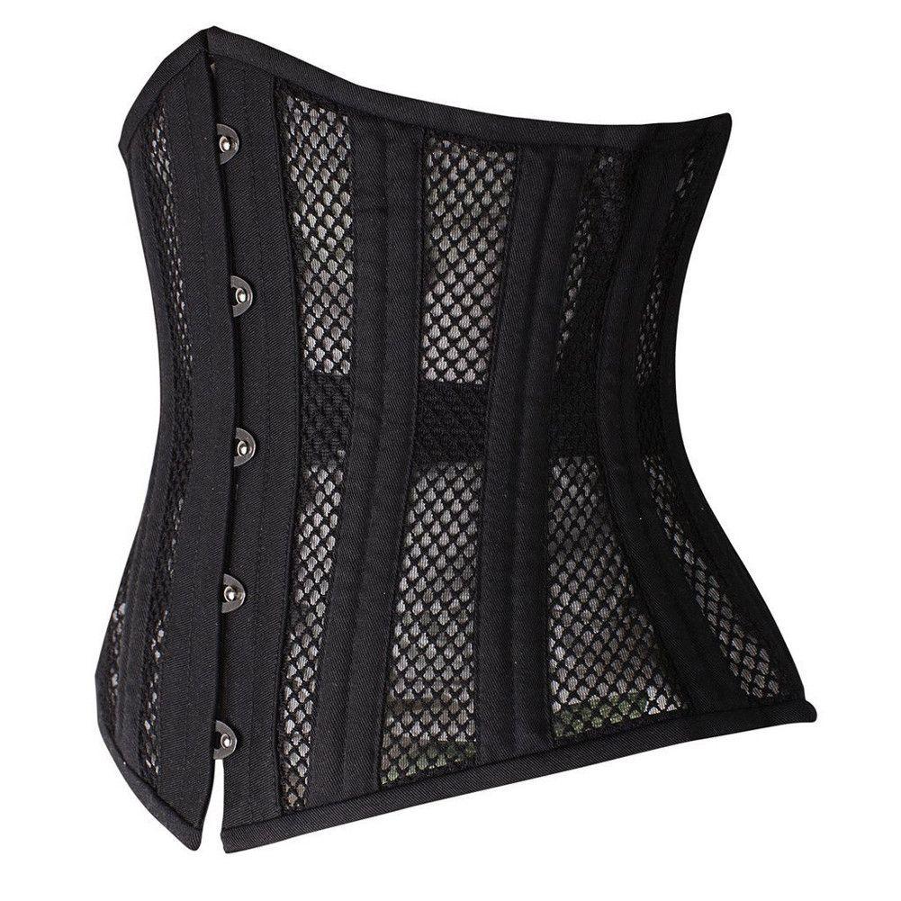 1fef3aa972b Black Mesh 26 Steel Boned Waist Training Corset With Panel